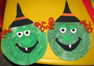 Paper plate witches - easy to make with your students