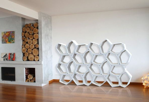 2shelves-in- la forma-de-abeja-nido