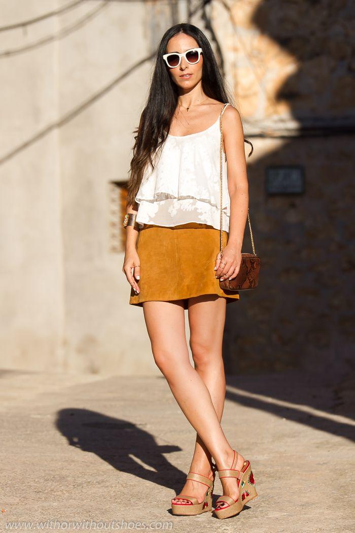 Falda de Ante y Sandalias de Rafia Magrit | With Or Without Shoes - Blog Moda Valencia Tendencias