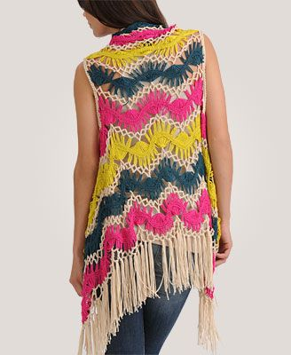 Forever21 fringe vest...like this a lot but without the pink and yellow...maybe done variegated yarns.