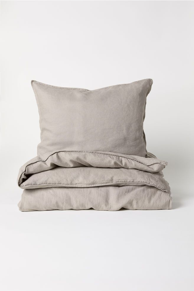 Washed Linen Duvet Cover Set Light Beige Home All H M Us Duvet Cover Sets Washed Linen Duvet Cover Linen Duvet