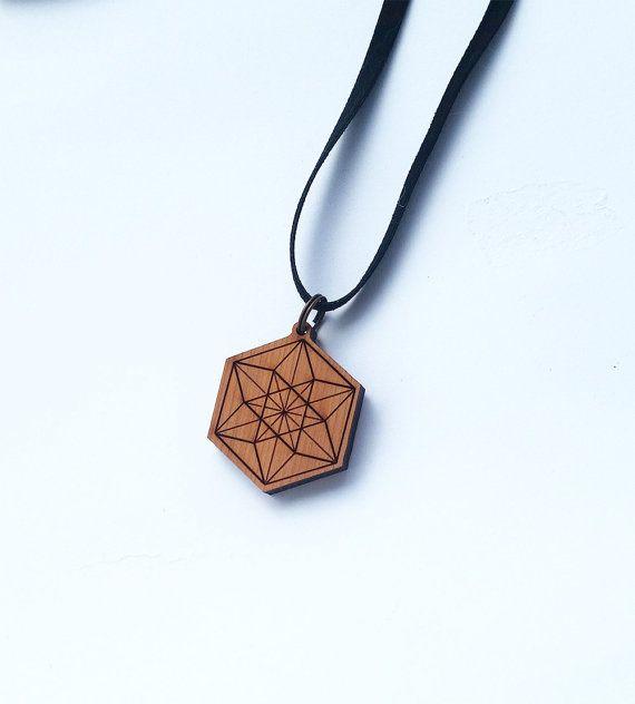 Vector Equilibrium cedar wood pendant