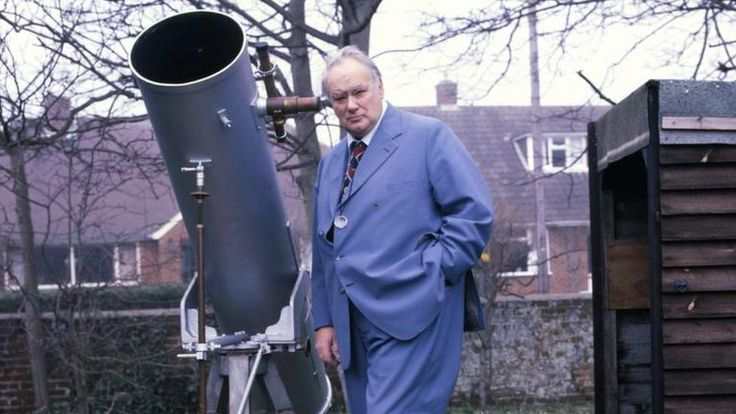 "Sir Patrick Moore (1923 - 2012). British astronomer, broadcaster and writer. Many astronomers - professional and amateur alike - credit Moore with getting them interested in astronomy. Mona Evans, ""Bang! The Complete History of the Universe"" http://www.bellaonline.com/articles/art178707.asp"
