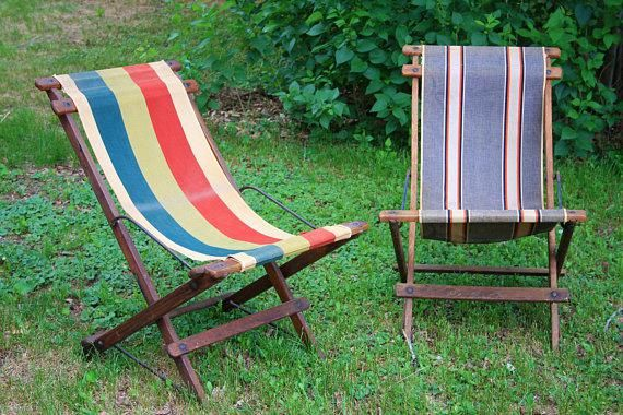 Beach Chairs Vintage Wooden Folding Sling Oak Deck Striped Patio C Deckchairs