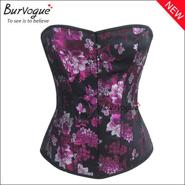 Burvogue embroidery women corset top sexy good quality brand overbust corselet women corsets and bustiers waist