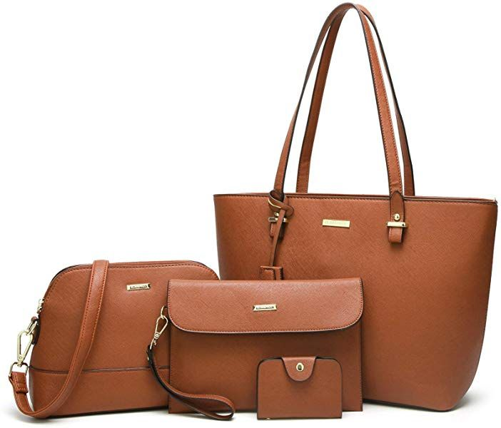 2ef0bfabcfe7 Amazon.com  ELIMPAUL Women Fashion Handbags Tote Bag Shoulder Bag Top  Handle Satchel Purse Set 4pcs (brown)  Shoes