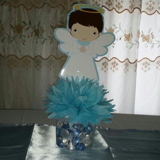 Centro de mesa para bautizo el angelito est impreso en papel fotogr fico y pegado en cart n - Como hacer centros de mesa para bautizo ...
