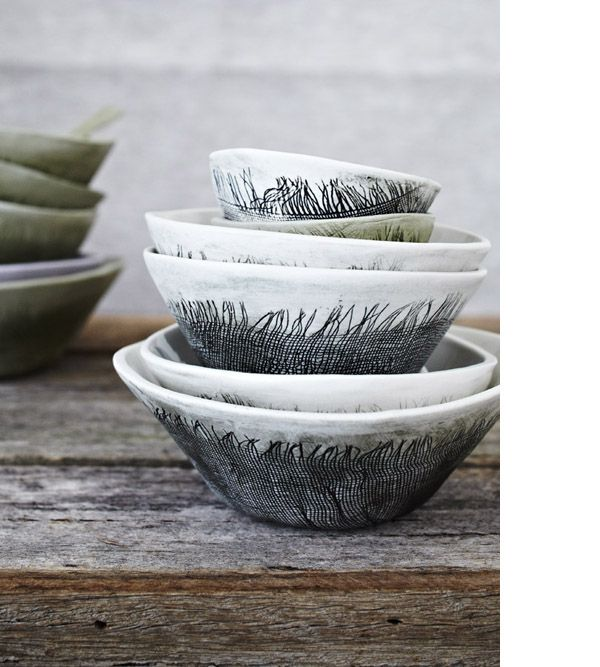 Beautiful bowls by Melbourne-based ceramicist Karen Morton. Photo Armelle Habib, styling Julia Green.