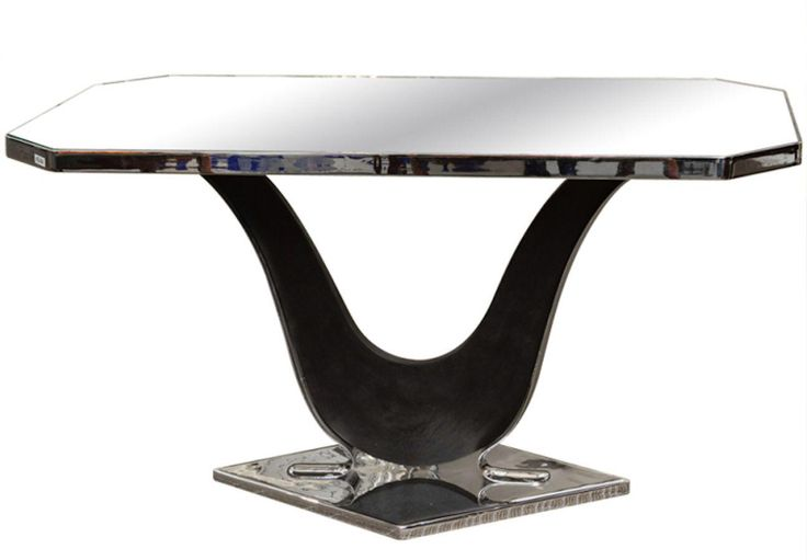 French Modernist Nickel Plated and Mirrored Side Table in Style of Jacques Adnet on Chairish.com