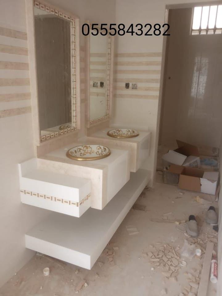 مغاسل رخام حمامات مزركشة Bathroom Mirror Lighted Bathroom Mirror Bathroom Pictures