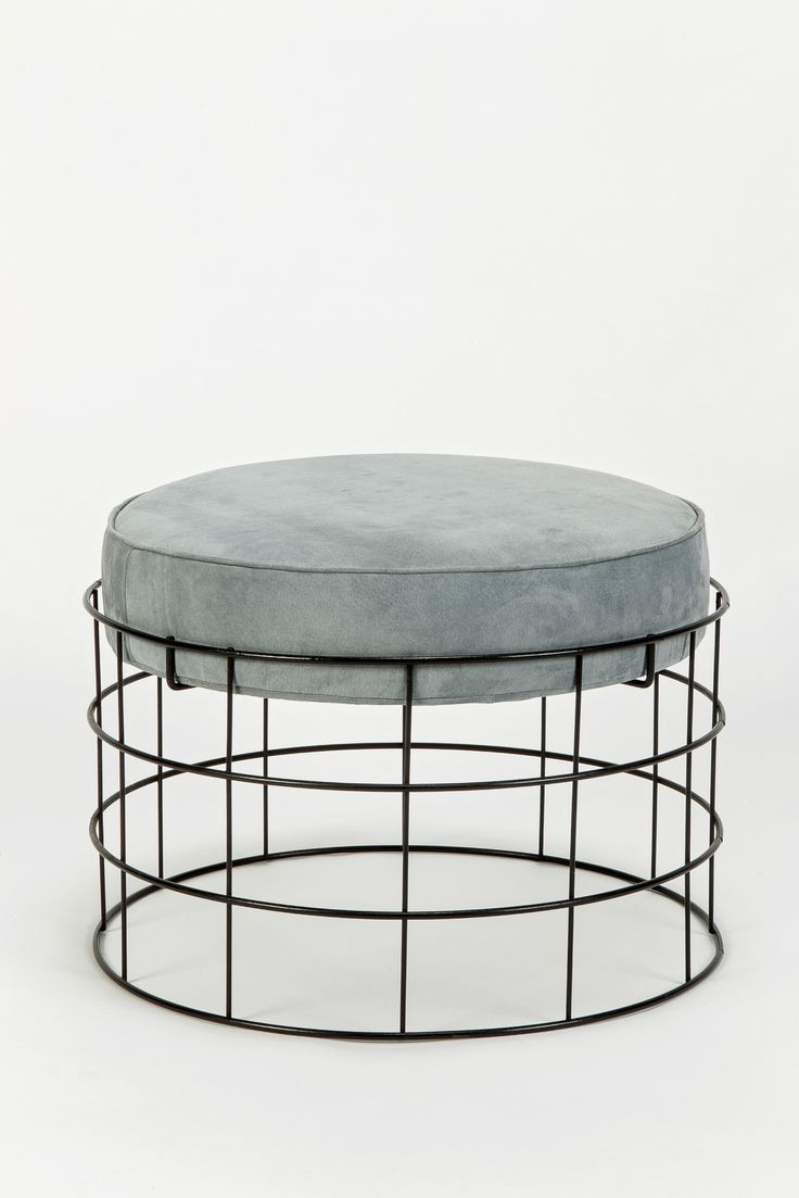 Rare Wireframe T1 Plus Stool with Suede Leather by Verner Panton