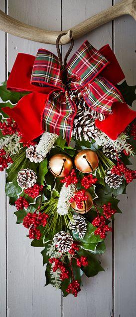 A Classic Christmas Door Spray...a pretty Alternative to a wreath.
