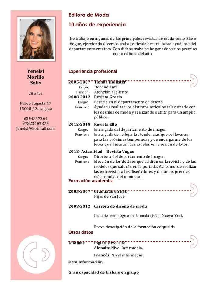 2018 Pdf Plantilla De Curriculum Vitae Pinterest Curriculum