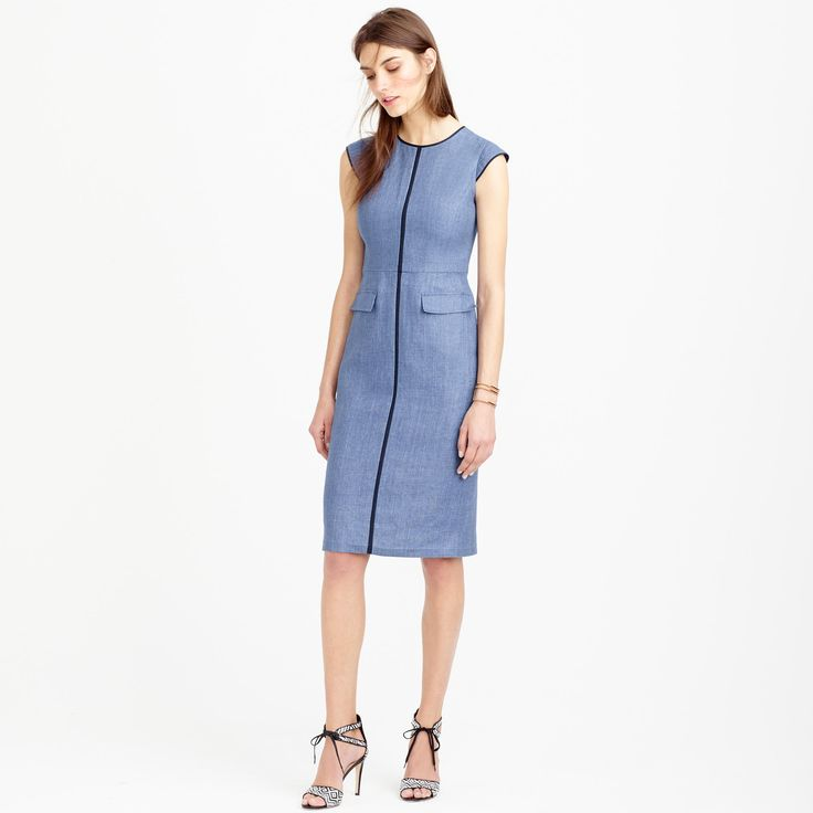 Patch Pocket Sheath Dress In Tipped Linen Wear To Work J