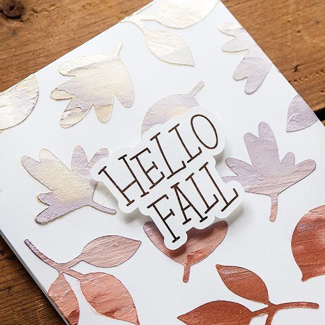 Hello Fall Handmade Card with Gradient Nuvo Embellishment Mousse Background Technique