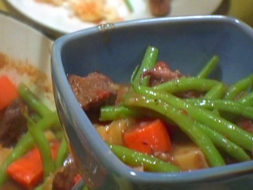 Red Wine Beef Stew with Potatoes and Green Beans from FoodNetwork.com. serves 10. need: red wine, fresh rosemary