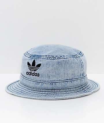35e3aeed8b5 adidas Originals Light Blue Washed Denim Bucket Hat