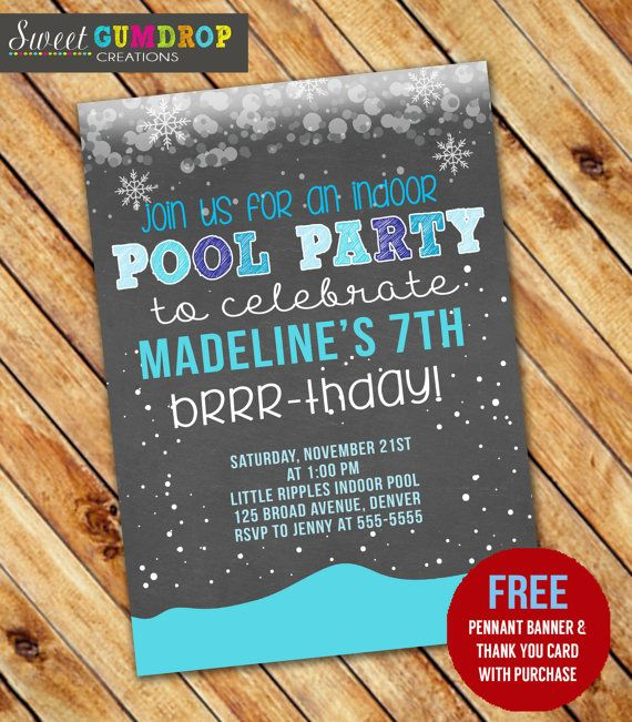 Winter Indoor Pool Party Birthday Invitation by SweetGumdrop