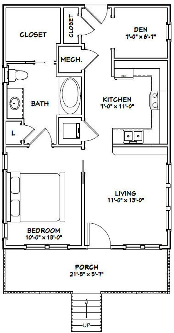 22x32 House 1 Bedroom 1 Bath 704 Sq Ft Pdf Floor Plan Instant Download Model 1 Guest House Plans Tiny House Floor Plans 1 Bedroom House Plans