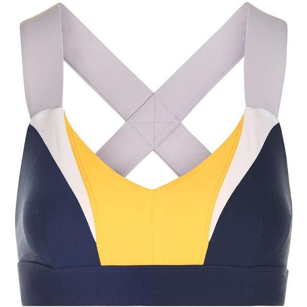 No Ka'Oi Multi Colour Block Ola Sports Bra ($86) ❤ liked on Polyvore featuring activewear, sports bras, underwear, v neck sports bra, colorful sports bras, strappy sports bra, logo sportswear and yoga sports bra