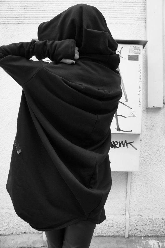 Aakasha Wear - Asymmetric Extravagant Black Hooded Coat
