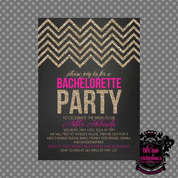 Glitter Chevron /// Bridal Shower Bachelorette Party Invitation /// Customizable and PRINTABLE