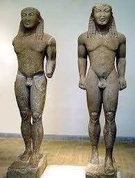 Kleobi e Pitone, attribuiti a Polimede di Argo, 610-590 a.C.Marmo di Paro.Oggi conservati presso Delfi,Museo Archeologico.