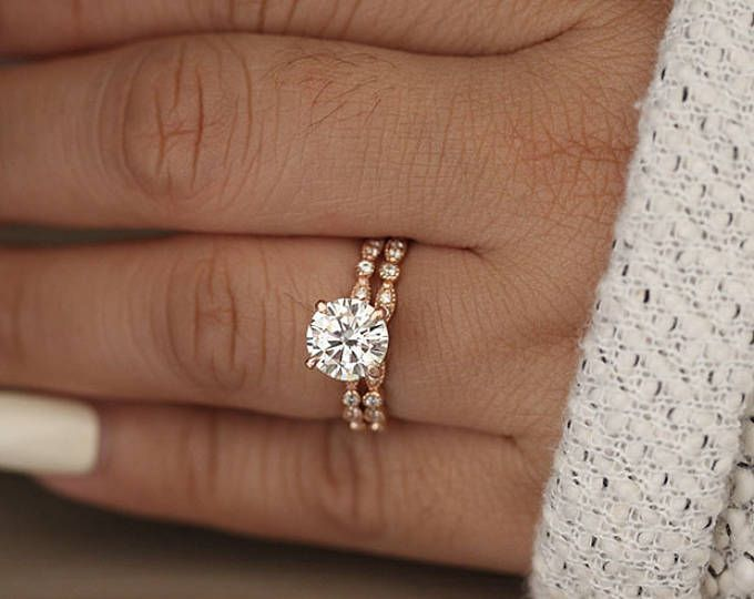 Wedding Ring Set, Moissanite Rose Gold Engagement Ring, Round 8mm Moissanite Ring, Diamond Milgrain Band, Solitaire Ring, Promise Ring