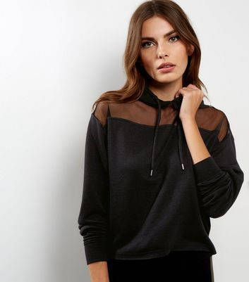 Black Yoke Sheer Panel Cropped Hoodie