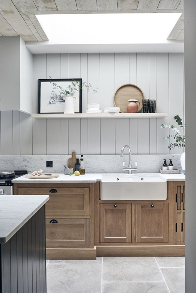 Natural Oak Kitchen With Belfast Sink With Painted Wooden Panelling