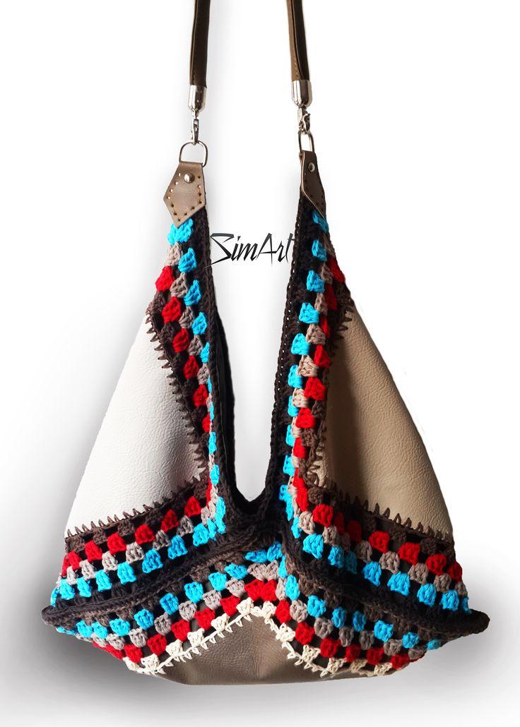 Crochet vegan leather #oversized bag