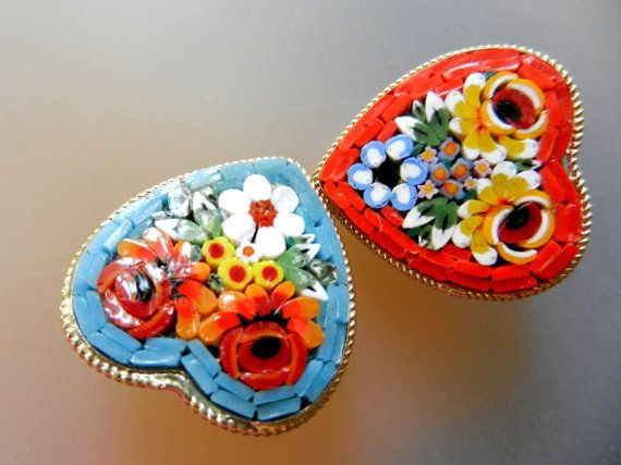 Amazing Sweetheart 1950s Micro Mosaic Italian pins by RAKcreations