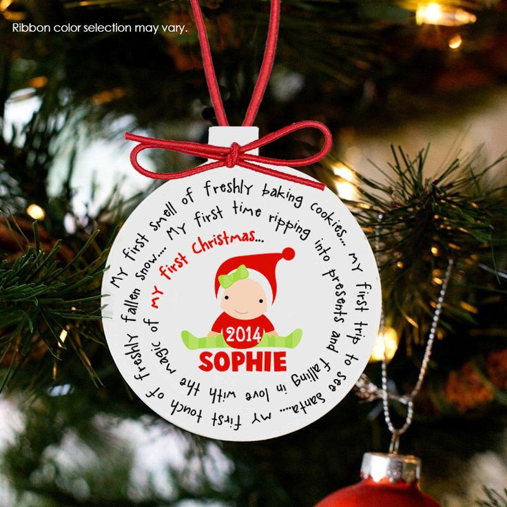 Baby's first Christmas ornament personalized for a girl or a boy - great custom new baby Christmas gift by zoeysattic on Etsy https://www.etsy.com/listing/84994661/babys-first-christmas-ornament