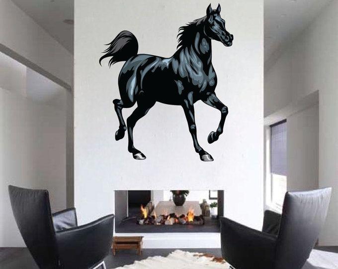 Caballo de etiqueta de la pared, caballo pared Mural, caballo arte de pared de diseño, decoración de la pared de caballo, caballo etiqueta de la pared, caballo pared vinilo, Fondo de pantalla de caballo, c46