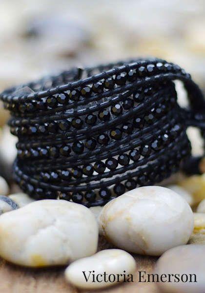 Leather Wrap Bracelet: Victoria Emerson - BLACK