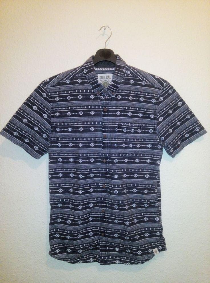 Mens SoulCal Co Navy Short Sleeve Shirt Aztec Pattern Size M