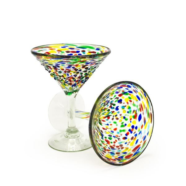 Confetti Recycled Martini Glass - Set of 2, reg. $20,  handblown recycled glass, made in Mexico: Recycled Glass