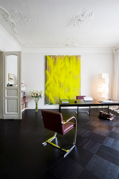 landscape architect guido hager's berlin apartment, interior by helenio barbetta. yellow art