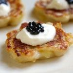 Miniature Boxty with Creme Fraiche and Truffle Caviar Appetizer