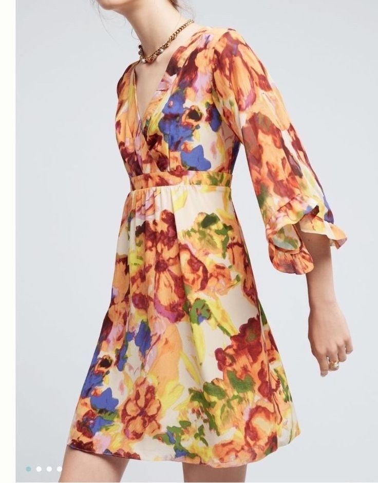 NEW Anthropologie Deloria Printed Silk Dress 4P by Maeve Retail $168 Free Ship  | eBay
