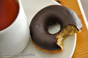 """Best Paleo Donuts"" - blanched almond flour, baking soda, maple syrup (sub another sweetener), almond extract, vanilla extract, coconut oil, ACV, eggs, glaze (very dark chocolate [use sugar-free], unsweetened chocolate, coconut oil)"