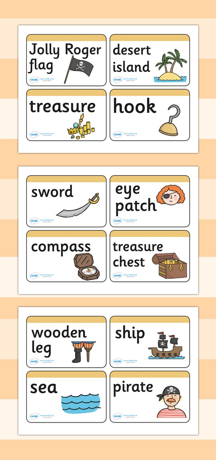 Twinkl Resources >> Pirate Word Cards  >> Classroom printables for Pre-School, Kindergarten, Elementary School and beyond! Topics, Pirates, Word Cards