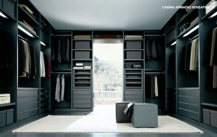 Black White Walk In Closet Design Interior Made From Solid Dark Wood Cool black white interior design ideas in modern home Home decoration