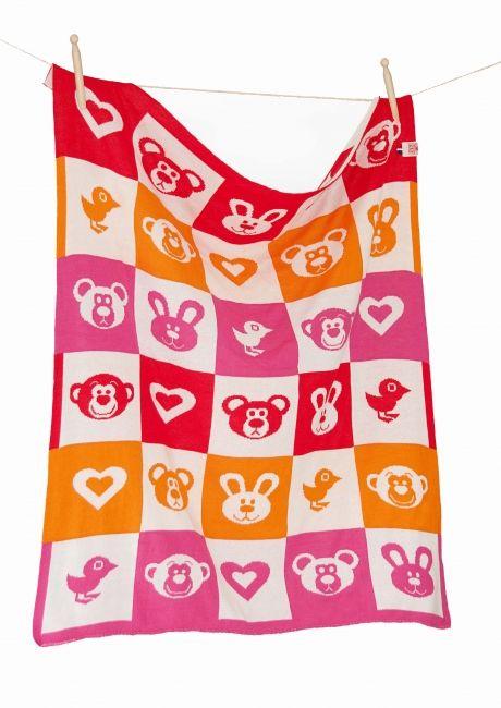 Babydekentje gebreid rood oranje rose ecru | roos kluvers is de ontwerper | rosesared.nl is haar webshop