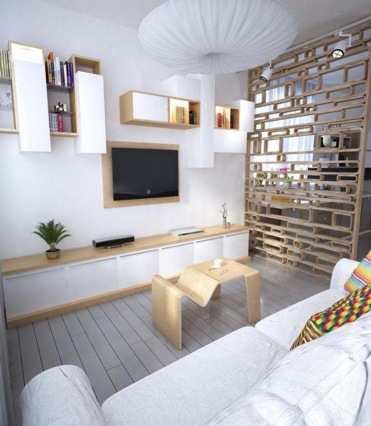 kleines wohnzimmer mit möbeln in weiß und hellem holzton, Wohnzimmer