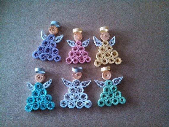 Set of 6 Paper Quilled Angels Pins choice of colors by Ljbug66