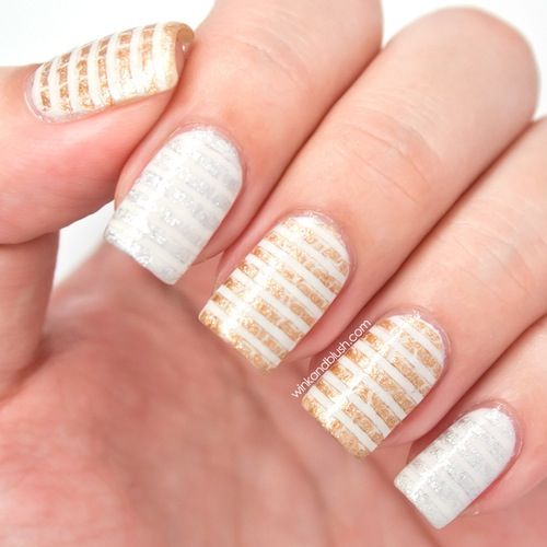 Subtle Stripes Nails. Glitter. Silver And Gold Nail Art