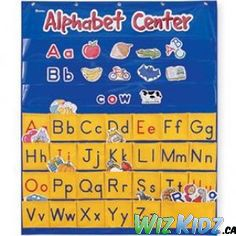 Alphabet Center Pocket Chart teaches alphabet awareness, uppercase and lowercase letters, and vowels and consonants. #kids #education #language