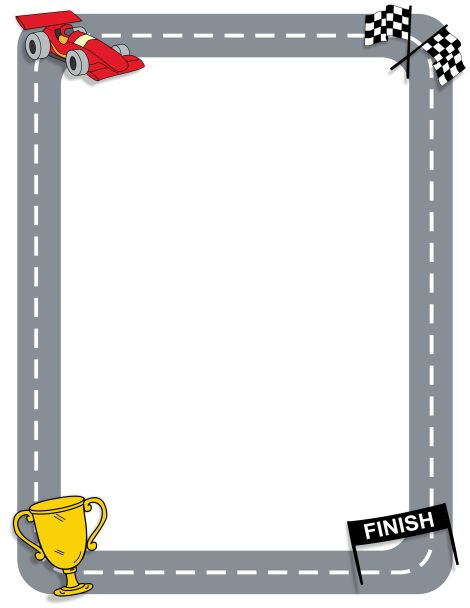 Page border featuring racing graphics such as a car and checkered flags. Free downloads at http://pageborders.org/download/racing-border/