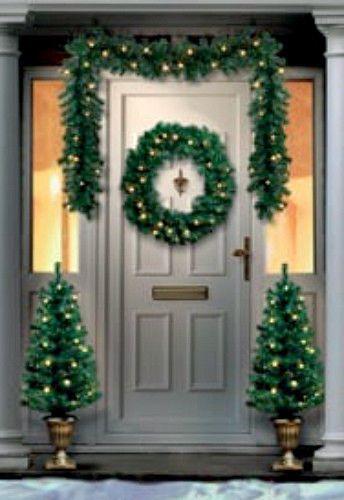 Outdoor Christmas Decor Pre-Lit 4Pc Artificial Porch Xmas Trees Wreath Garland  #Premier